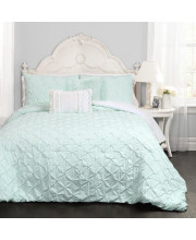 Ravello Pintuck Comforter Light Aqua 4Pc Set Twin