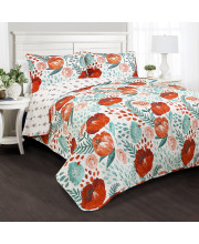 Poppy Garden Quilt Multi 3pc Set Full/ Queen