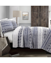 Hygge Geo Quilt Navy/White 3Pc Set King