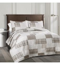 Greenville Quilt Taupe 3Pc Set Full/ ...