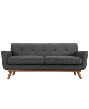 Engage Upholstered Fabric Loveseat - Gray