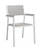 Maine Dining Outdoor Patio Armchair - White Light Gray