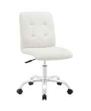 Prim Armless Mid Back Office Chair - White