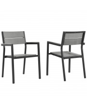 Maine Dining Armchair Outdoor Patio Set of 2 - Brown Gray