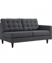 Empress Right-Facing Upholstered Fabric Loveseat - Gray