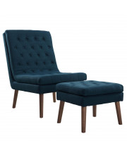 Modify Upholstered Lounge Chair and Ottoman - Azure