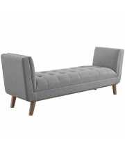 Haven Tufted Button Upholstered Fabric Accent Bench - Light Gray