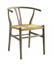 Amish Dining Wood Side Chair - Weathered Gray