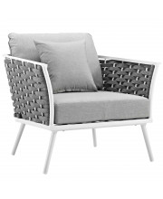 Stance Outdoor Patio Aluminum Armchair - White Gray