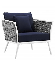 Stance Outdoor Patio Aluminum Armchair - White Navy