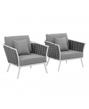 Stance Armchair Outdoor Patio Aluminum Set of 2 - White Gray
