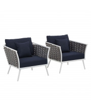 Stance Armchair Outdoor Patio Aluminum Set of 2 - White Navy