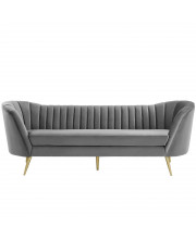 Opportunity Vertical Channel Tufted Curved Performance Velvet Sofa MODA-EEI3453GRY