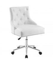 Regent Tufted Button Swivel Faux Leather Office Chair MODA-EEI3608WHI