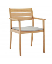 Viewscape Outdoor Patio Ash Wood Dining Armchair Natural Taupe