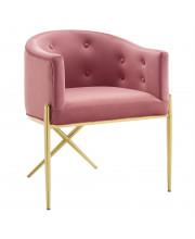 Savour Tufted Performance Velvet Accent Dining Armchair Dusty Rose