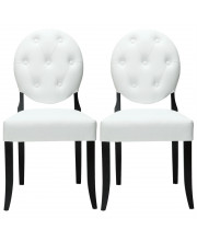 Ergo Button Dining Chairs Set of 2 - White