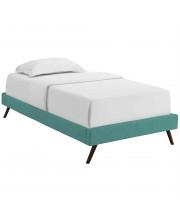 Loryn Twin Fabric Bed Frame with Round Splayed Legs Teal