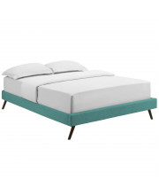 Loryn King Fabric Bed Frame with Round Splayed Legs Teal
