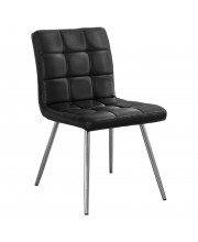 """Black Leather-Look / Chrome Metal 32""""H Dining Chair / 2Pc"""