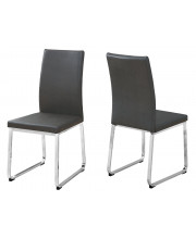"""Dining Chair - 2Pcs / 38""""H / Grey Leather-Look / Chrome"""