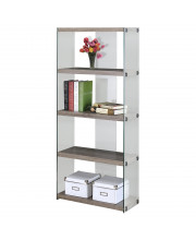 """Dark Taupe Reclaimed-Look / Tempered Glass 60""""H Bookcase"""