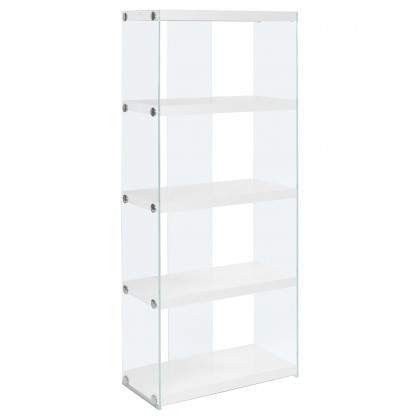 """Glossy White Hollow-Core / Tempered Glass 60""""H Bookcase Monr-I3289"""