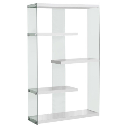 """Glossy White Hollow-Core / Tempered Glass 60""""H Bookcase Monr-I3290"""