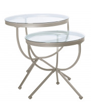 Satin Silver 2Pcs Nesting Table Set With Tempered Glass Monr-I3322