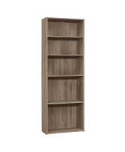 """Bookcase - 72""""H / Dark Taupe With 5 Shelves"""