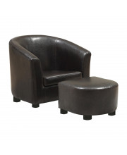 Dark Brown Leather-Look Juvenile Chair / Ottoman 2Pcs Set