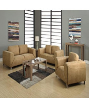 TAN / CHOCOLATE BROWN CONTRAST MICRO-SUEDE LOVE SEAT