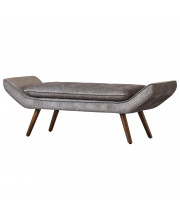 Newcastle Fabric Tufted Bench - Tweed Gray