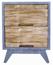 2-Drawer Accent Cabinet - Gray W/ Distressed Wood