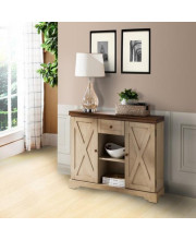 Pilaster Designs - Wood Buffet Cabinet Console Table With Storage - Antique White / Walnut
