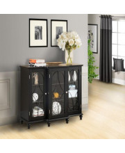 Pilaster Designs - Wood Storage Sideboard Buffet Cabinet Console Table - Black Finish