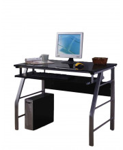 Pilaster Designs - Glass and Metal Home Office Computer Workstation Desk/Table