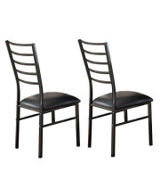 Pilaster Designs - Black Metal Dining Room Chair With Vinyl Seat, Set of 2 Chairs