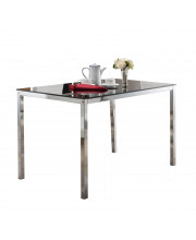 Pilaster Designs - Rectangle Dining Table With Glass top, Metal Base