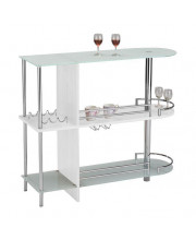 Pilaster Designs - Bar Table with Two Glass Shelves, White Finish