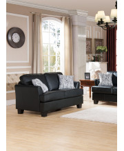 """Black Upholstered Faux Leather Wood 63"""" Stationary Living Room Loveseat"""