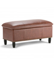 Emily 39 Inch Wide Traditional Rectangle Storage Ottoman In Cognac Faux Leather