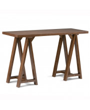 Sawhorse Solid Wood Console Sofa Table in Medium Saddle Brown