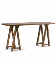 Sawhorse Solid Wood Wide Console Sofa Table in Medium Saddle Brown
