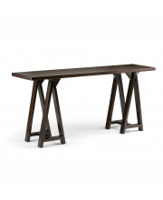 Sawhorse Solid Wood Wide Console Sofa Table in Dark Chestnut Brown