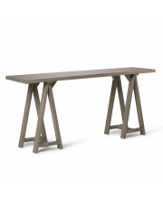 Sawhorse Solid Wood Wide Console Sofa Table in Distressed Grey