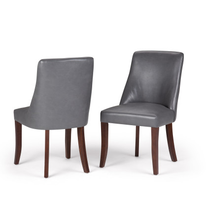 Walden Faux Leather Deluxe Dining Chair in Stone Grey (Set of 2)