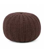 Shelby Hand Knit Round Pouf in Chocolate Brown