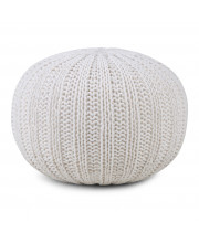 Shelby Hand Knit Round Pouf in Cream
