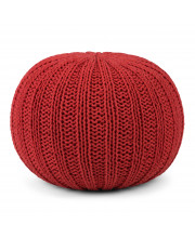 Shelby Hand Knit Round Pouf in Candy Red